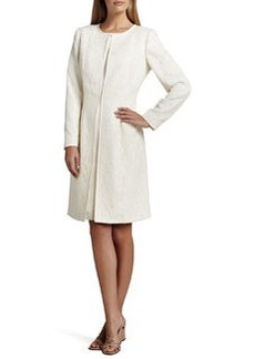Albert Nipon Jacquard Coat over Satin Sheath Dress