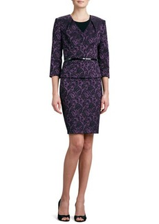 Albert Nipon Jacquard V-Neck Skirt Suit
