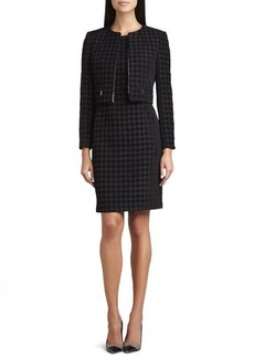 Albert Nipon Large Houndstooth Sleeveless Dress & Jacket Set