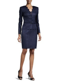 Albert Nipon Lattice-Jacquard Skirt Suit