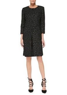 Albert Nipon Leopard-Print Coat & Solid Sheath Dress Set