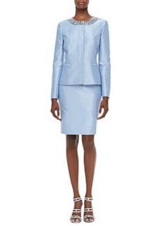 Albert Nipon Long-Sleeve Bead-Neck Skirt Suit, Light Sky