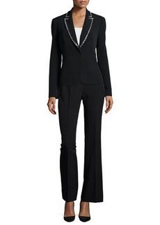 Albert Nipon Long-Sleeve Beaded Tuxedo Pant Suit  Long-Sleeve Beaded Tuxedo Pant Suit