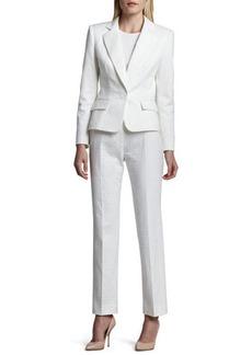 Albert Nipon Long Sleeve Notch Collar Pantsuit, Blanc (White)