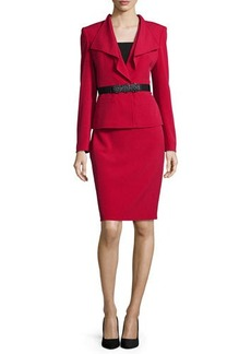 Albert Nipon Long-Sleeve Ruffled-Front Belted Skirt Suit  Long-Sleeve Ruffled-Front Belted Skirt Suit