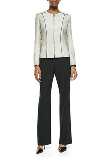 Albert Nipon Long-Sleeve Tweed Pantsuit