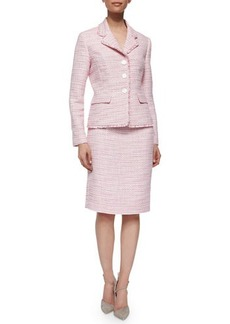 Albert Nipon Long-Sleeve Tweed Skirt Suit