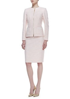 Albert Nipon Long Sleeve Tweed Skirt Suit