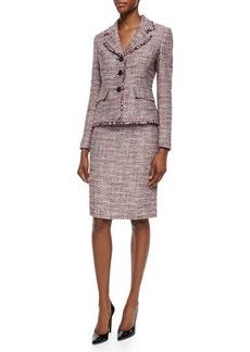 Albert Nipon Long-Sleeve Tweed Skirt Suit  Long-Sleeve Tweed Skirt Suit