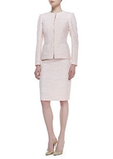 Albert Nipon Long Sleeve Tweed Skirt Suit, Peach Sorbet