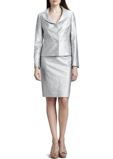 Albert Nipon Metallic 3-Button Skirt Suit