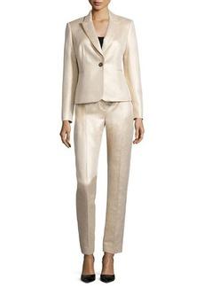 Albert Nipon Metallic Jacquard Pant Suit  Metallic Jacquard Pant Suit
