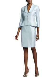 Albert Nipon Metallic Jacquard Skirt Suit  Metallic Jacquard Skirt Suit