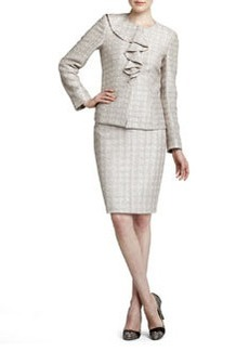 Albert Nipon Metallic-Plaid Skirt Suit