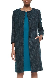 Albert Nipon Metallic Tweed Coat & Solid Dress