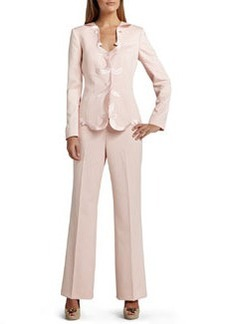 Albert Nipon Pant Suit with Scalloped Placket on Jacket