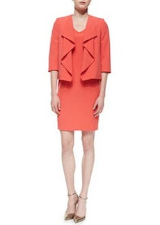 Albert Nipon Ruffle-Front Jacket with Sheath Dress, Dark Coral