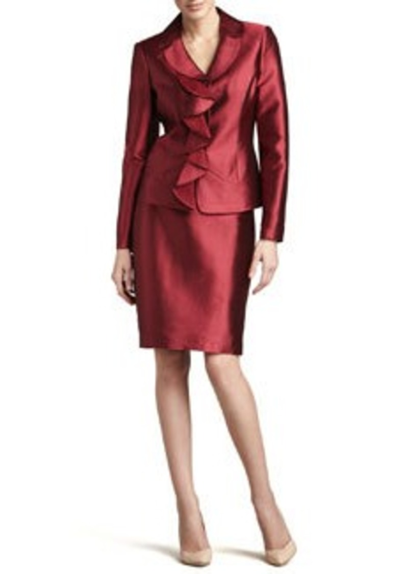 Albert Nipon Ruffled Silk-Wool Skirt Suit