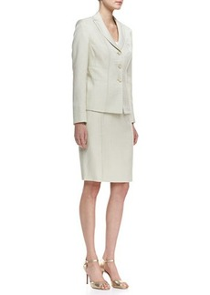 Albert Nipon Seamed Skirt Suit, Celadon