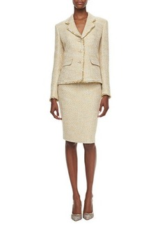 Albert Nipon Shimmery Tweed Skirt Suit  Shimmery Tweed Skirt Suit