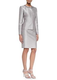 Albert Nipon Skirt Suit w/ Embellished Neck