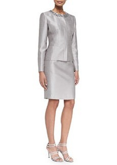 Albert Nipon Skirt Suit w/ Embellished Neck