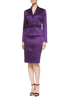 Albert Nipon Skirt Suit w/ Embellished Waist