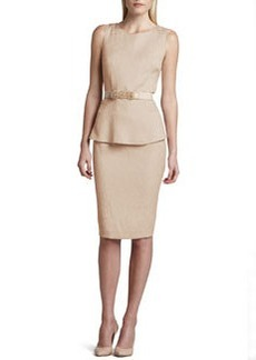 Albert Nipon Sleeveless Belted Jacquard Peplum Dress
