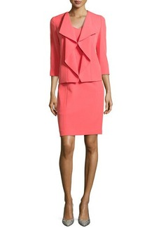 Albert Nipon Sleeveless Sheath & Cascade-Front Jacket Set