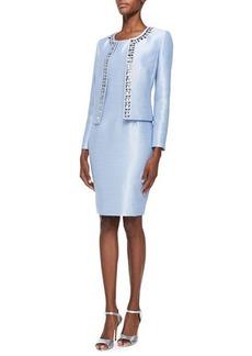 Albert Nipon Sleeveless Sheath Dress & Jeweled Jacket Set  Sleeveless Sheath Dress & Jeweled Jacket Set