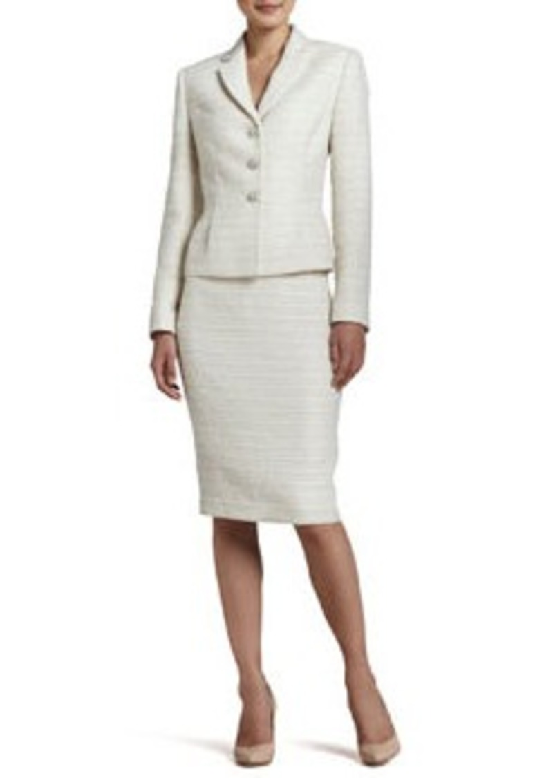Albert Nipon Tweed Long-Sleeve Skirt Suit
