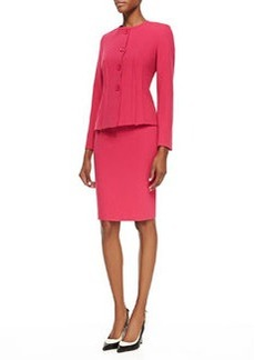 Albert Nipon Two-Piece Knit Skirt Suit, Fuchsia