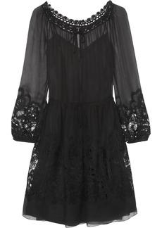 Alberta Ferretti Crochet lace-trimmed silk-chiffon dress