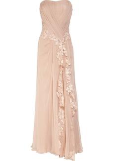 Alberta Ferretti Lace-appliquéd silk gown