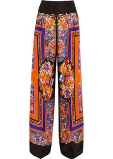 Alberta Ferretti Printed silk-satin wide-leg pants