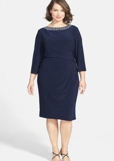 Alex Evenings Beaded Neck Matte Jersey Dress (Plus Size)