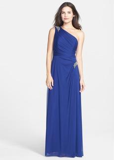 Alex Evenings Beaded One-Shoulder Mesh Gown (Regular & Petite)