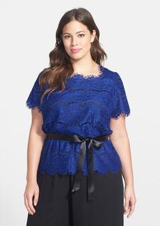 Alex Evenings Belted Lace Blouse (Plus Size)