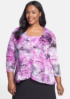 Alex Evenings Burnout Print Chiffon Twinset (Plus Size)