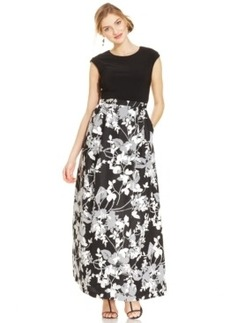 Alex Evenings Cap-Sleeve Floral-Print Gown