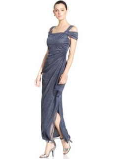 Alex Evenings Cold-Shoulder Draped Glitter Gown