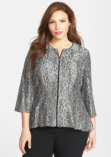 Alex Evenings Collarless Metallic Lace Jacket (Plus Size)