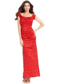 Alex Evenings Dress, Off the Shoulder Taffeta Crinkle Gown