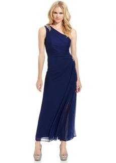 Alex Evenings Dress, Sleeveless One-Shoulder Draped Gown