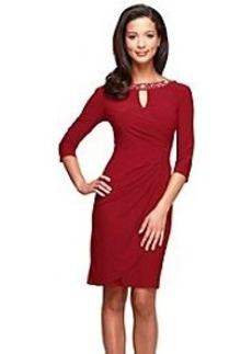 Alex Evenings® Elbow Sleeve Keyhole Ruch Dress