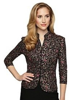 Alex Evenings® Elbow Sleeve Print Mandarin Collar Jacket