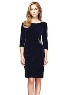 Alex Evenings® Elbow Sleeve Short Beaded Dress