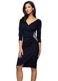 Alex Evenings® Elbow Sleeve Side Ruched Surplice Dress