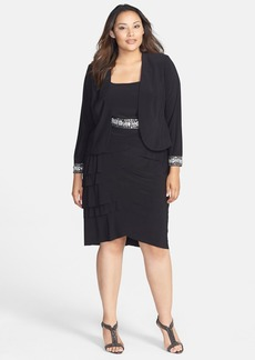 Alex Evenings Embellished Artichoke Pleat Dress & Jacket (Plus Size)