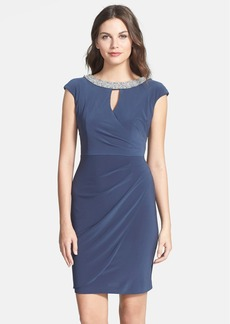 Alex Evenings Embellished Cap Sleeve Sheath Dress (Petite)
